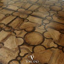 Solid wood flooring / oak / waxed / wood inlaid
