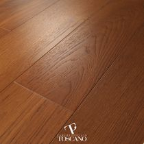 Engineered parquet flooring / glued / teak / waxed