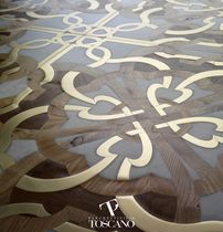 Teak parquet flooring / oiled / natural stone inlaid / metal inlaid