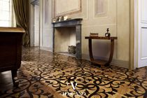 Solid parquet flooring / glued / oiled / marble inlaid