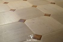 Solid parquet flooring / glued / oak / teak