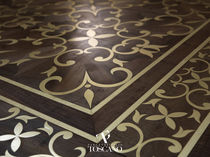 Solid parquet flooring / walnut / oiled / metal inlaid