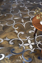 Solid parquet flooring / glued / oiled / metal inlaid