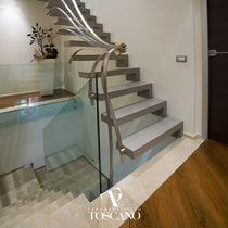 Straight staircase / stone steps / steel frame / without risers