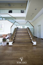 Quarter-turn staircase / wooden steps / wooden frame / with risers