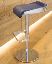 Contemporary bar stool / leather / metal / commercial