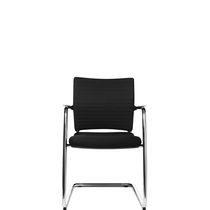 Contemporary visitor chair / cantilever / with armrests / upholstered