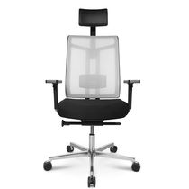 Contemporary executive chair / leather / mesh / on casters
