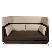 Contemporary sofa / leather / aluminum / wool