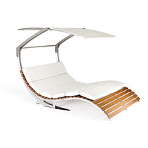 Contemporary lounge chair / water-repellent fabric / iroko / stainless steel