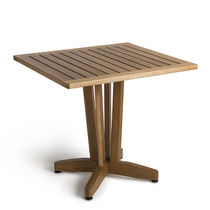 Contemporary table / wooden / square / outdoor