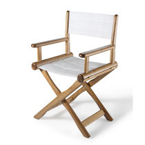Contemporary chair / fabric / ash / teak