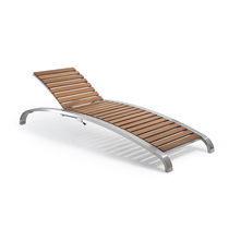 Contemporary sun lounger / wooden / metal / outdoor