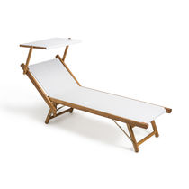Contemporary sun lounger / Batyline® / water-repellent fabric / wooden