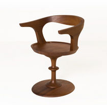 Contemporary chair / with armrests / central base / wooden