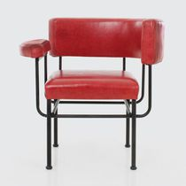 Contemporary armchair / metal / red / black