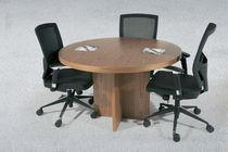 Contemporary boardroom table / wooden / round