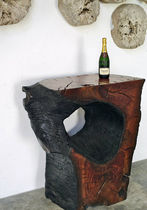 Contemporary side table / petrified wood / rectangular