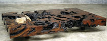 Contemporary coffee table / petrified wood / rectangular