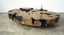 Contemporary coffee table / petrified wood