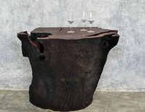 Contemporary side table / petrified wood
