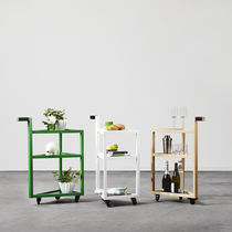 Glass service trolley / oak / residential