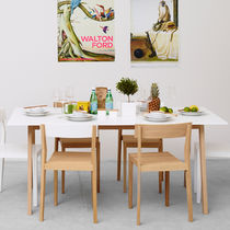 Contemporary dining table / oak / MDF / painted wood