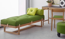 Contemporary upholstered bench / fabric / leather / oak