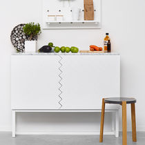 Contemporary sideboard / oak / lacquered MDF / marble