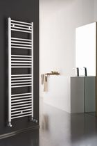 Hot water towel radiator / vertical / steel / wall-mounted