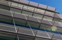 Aluminum solar shading / for facades / access walkway / horizontal