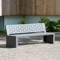 Public bench / contemporary / sheet steel / with backrest