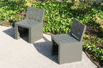 Contemporary chair / thermo-lacquered steel / for public spaces / outdoor