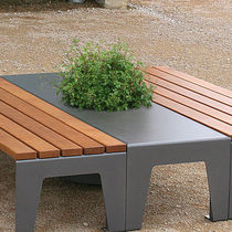 Steel planter / rectangular / with integrated bench / contemporary