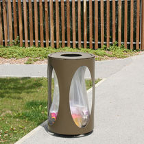 Public trash can / sheet steel / with built-in ashtray / anti-terrorism