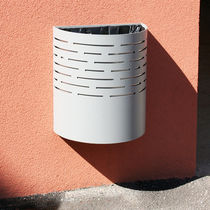 Public trash can / wall-mounted / sheet steel / contemporary