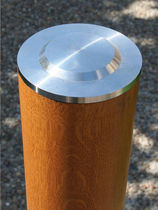 Security bollard / stainless steel / wooden / high