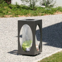 Public trash can / steel / lacquered steel / thermo-lacquered steel