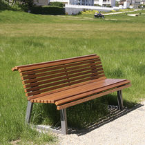 Public bench / garden / contemporary / oak