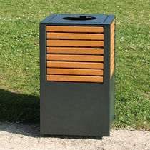 Public trash can / steel / wooden / contemporary