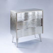 Contemporary chest of drawers / sheet metal / silver / golden
