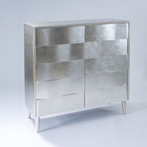 Contemporary sideboard / lacquered wood / silver