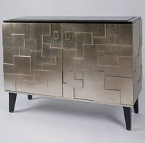 Art Deco sideboard / varnished wood / smoked glass / silver