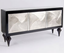 Sideboard with long legs / Art Deco / lacquered wood / black