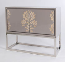 Art Deco sideboard / lacquered wood / metal / brown