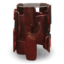 Contemporary side table / glass / round / custom