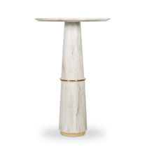 Contemporary high bar table / brass / marble / round