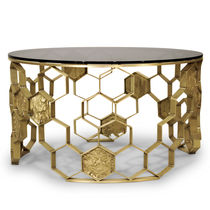 Contemporary coffee table / glass / brass / round