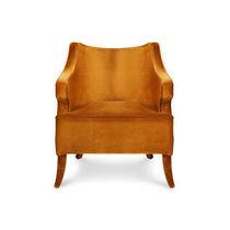 Contemporary armchair / velvet / orange