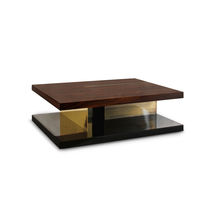 Contemporary coffee table / lacquered wood / wood veneer / palisander